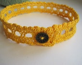 Golden Yellow Lace Band Collar with Brass Button