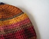 PHOENIX luxury fiber patchwork stripe crochet beanie cap in autumn tones -  saffron yellow, pumpkin orange, deep red, brown