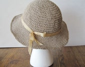 Little Linen Sun Hat - All Linen in Natural Unbleached Linen, Taupe / Beige - Tea Stained Ribbon - summertime sale