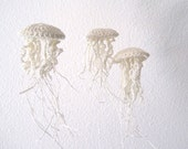 Moon Jellyfish Amigurimi Ornaments in Linen - Set of Three