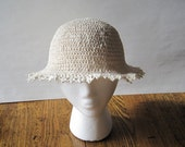 Linen Lace Hat in Cream and White - Rustic Nostalgic Old Fashioned Stingy Brim Hat - Goodbye Summer Sale