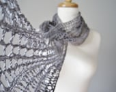 The Little Laszlo Scarf in Textured Cotton - Storm Grey Hand Knit Long Lace Luxury Scarf in Vegan Friendly Fibers