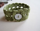 Rustic Romantic Lace Wrist Cuff in Willow - Cotton Linen Blend Fiber Jewelry Bracelet in Green with Shell Button Fastener