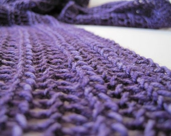 Scarf - Ultra Soft Merino Wool Hand Knit Violet Scribble Women's Lace Scarf