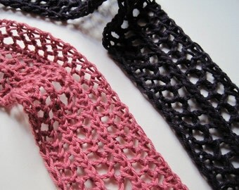 Peony Pink Lace Knit Headband / Mini Scarflette