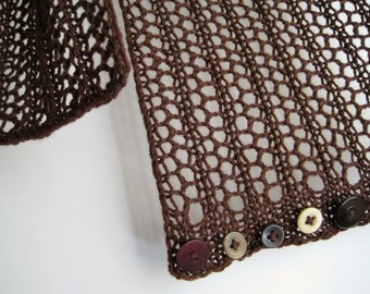 Infinity Scarf - BLACK FOREST Knit Lace Convertible Cowl / Scarf in Cocoa Brown and Earth Tone Buttons