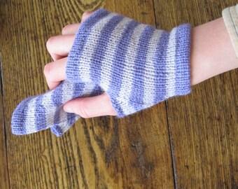 Wild Iris Ferry Glovelets - Striped Fingerless Gloves in Shades of Purple