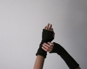 Deep Green Arm Warmers, Fingerless Mitts, Fingerless Gloves, Hand Knit Fingerless Gloves in Pure Cotton. Vegan Alternative Dark Forest Green