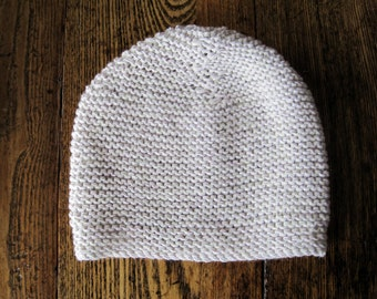 HIVE MIND Hand Knit Cap in Merino Wool & Cotton - Calm Winter Colors in Pink Lavender, Cloud Grey, and White