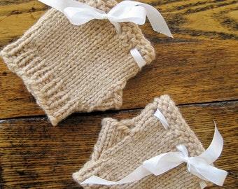 Fawn Glovelets in Organic Wool and Silk Ribbon - Simple Romantic Hand Knit Mini Gloves in Organic Merino