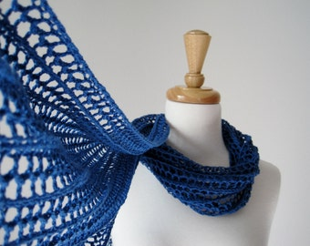 The Laszlo Scarf in Bright Blue - hand knit in pure cotton - net lace knitting, vegan, bright true blue