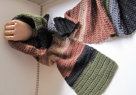 Patchwork Crochet Scarf - Multicolor in Forest - Moss Green, Steel Grey, Black, Brown, Cinnamon - Wool & Other Natural Fibers