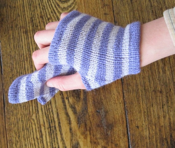 Wild Iris Ferry Glovelets - Striped Fingerless Gloves in Shades of Purple