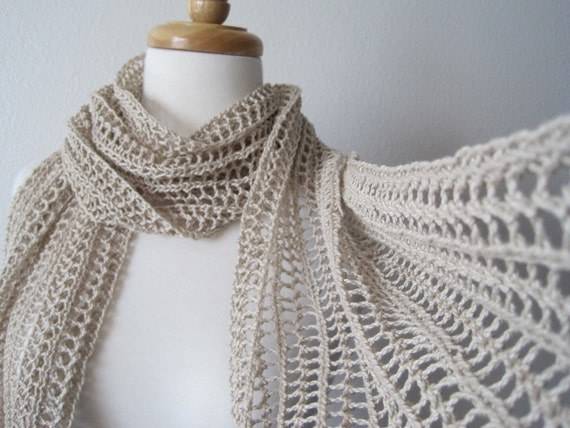The Laszlo Scarf in Shell - hand knit in pure cotton