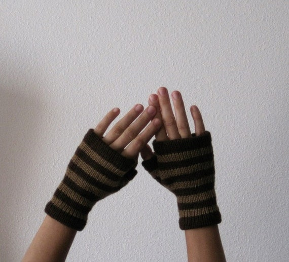 ACORN glovelets - hand knit fingerless gloves in brown stripes - soft merino wool - woodland boho striped steampunk look - clearance colors