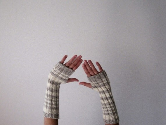 Grey and Cream Rustic Woolen Stripe Arm Warmers / Fingerless Gloves for Men or Women in Natural Undyed Wool - Frost and Snow