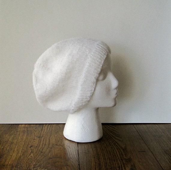 Hand Knit Hat in Snow - Lightweight Slouch Hat in White Wool Blend Yarn
