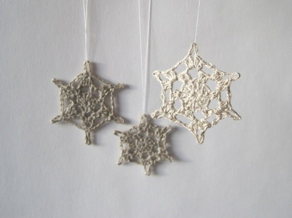Three Little Linen Snowflakes in Natural - Clearance Sale