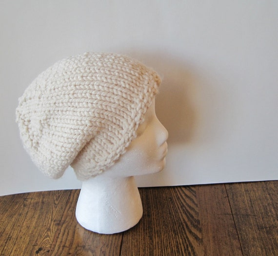 Hand Knit Hat - the Woodland Folk Slouch Hat in Cream White - Women's Wool Mix Knit Hat