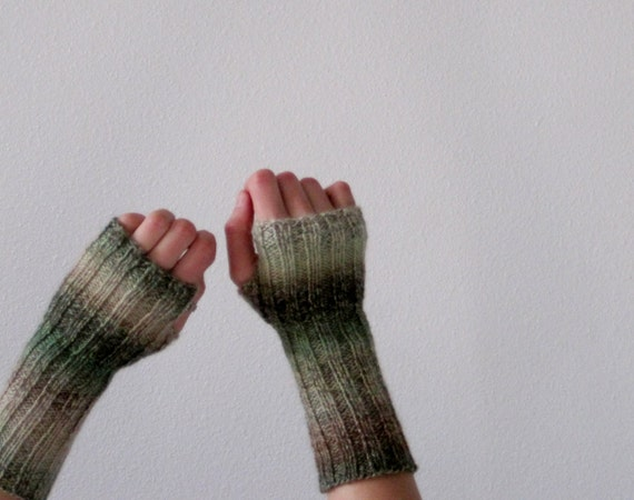 New Growth Hand Knit Lightweight Fingerless Gloves in Spring Green, Cream, and Light Brown
