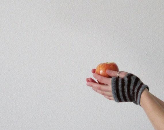 Heather Grey and Crimson Red Striped Fingerless Gloves in Lightweight Wool - Sale