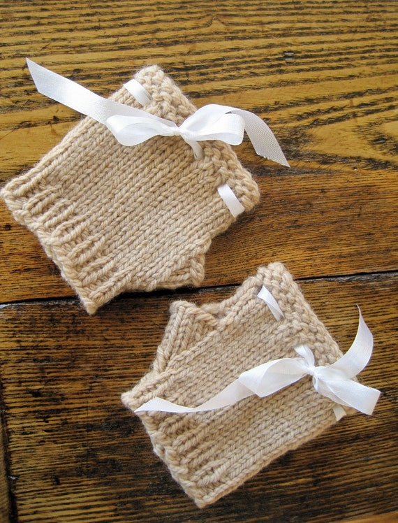 Fawn Glovelets in Organic Wool and Silk Ribbon - Simple Romantic Hand Knit Mini Gloves in Organic Merino