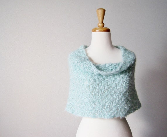 Cloud Cowl / Cape in Seafoam - Soft Lofty Hand Knit Shoulder Warming Capelet / Cowl in Pale Blue Green - Wool Mohair Blend