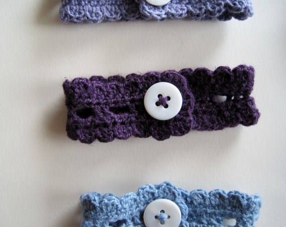Rustic Romantic Button Wristlet in Purple - Linen and Cotton - Light Sweet Handmade Lace with Mother of Pearl Shell Fastener