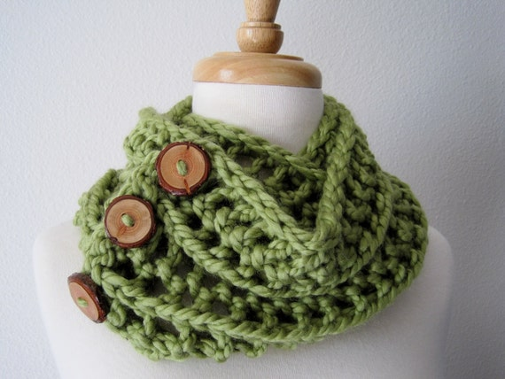 cowl scarf - GREEN GRASS Chunky Lace Knit Convertible Scarf in Meadow Green with Branch Buttons - Soft & Warm