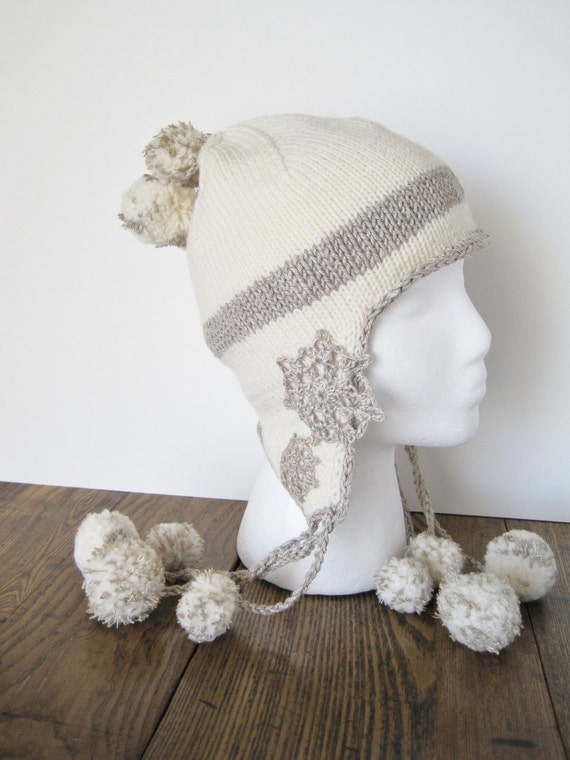 Thistle Pod PomPom Trapper Hat - Hand Knit in Natural White Wool and Linen