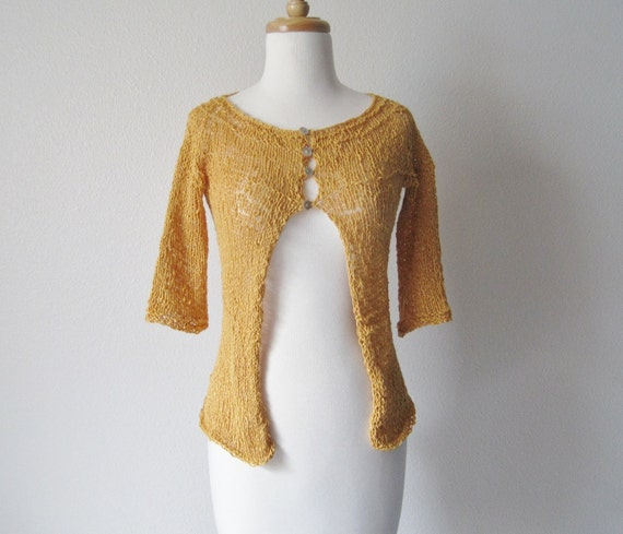 Seaside Cardigan - Hand Knit Textured Cotton Sweater in Golden Yellow / Mustard / Autumn Gold - size XS - S - Prototype Clearance Sale