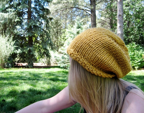 Woodland Folk Slouch Hat in Harvest Gold - Hand Knit Hat in Chunky Wool Blend Yarn - Soft & Warm