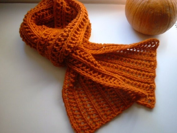 Hand Knit Autumn Scarf in Pumpkin Spice - made with soft, natural luxe merino wool