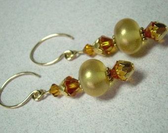 Shimmering Golden Topaz Dangle Earrings Lampwork Handcrafted