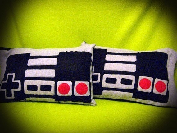 Pair of NES Nintendo Controller Pillow Cases