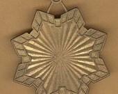 vintage brass pendant finding, giant star impressive
