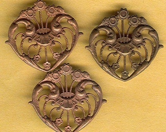 vintage raw brass art nouveau style stampings in various patinas, one pair TWO findings
