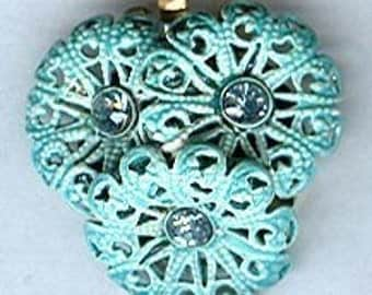 vintage clasp rhinestone blue enamel flower two strand shabby chic clasp vintage rhinestone clasp