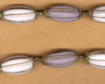 vintage rosary bead chain 1940s germany-us zone mauve/purple melon shaped glass wired