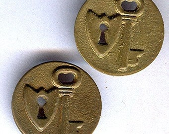vintage brass charm circle with a lock and key THREE unusual findings looks great on a chain ox