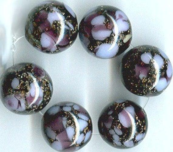 vintage art glass beads, purple with aventurine, six pieces, 12mm