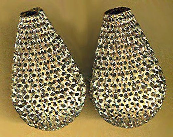 vintage brass teardrop filigree mesh pear shaped pair bead two pieces larger sized