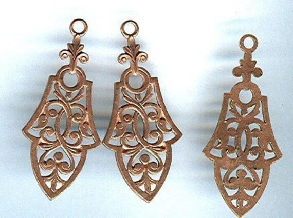 vintage gothic victorian brass filigree drop ornate pendant charm