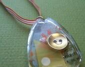 Gold button teardrop necklace