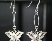 SHIPS FREE - Bali Sterling Silver Butterfly Earrings