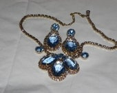1950s Vintage Statement Necklace & Matching Earrings Baby Blue and Pink Rhinestones - badgirlvintage