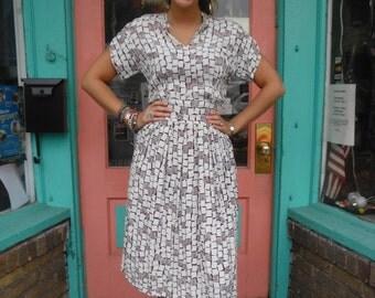 Vintage Swing Dress Fantastic Geometric Print 1940s Rayon 36 B Geometric Print FREE U S SHIPPING