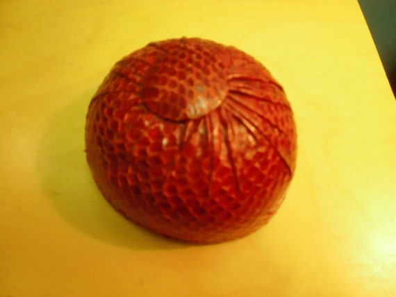 Vintage Hair Accessory 1950s or 60s Red Lizard BUN cover Hat Amazing and Fun Audrey Hepburn Look
