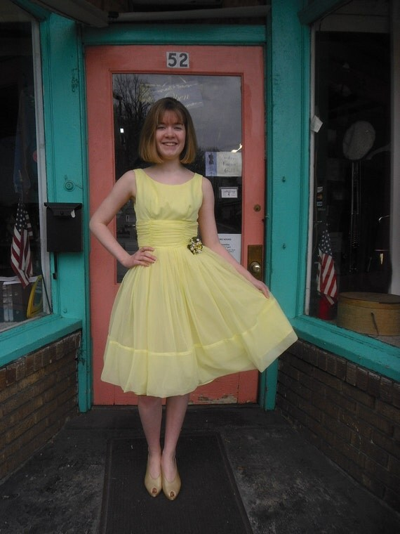 1950s Vintage Dress XXS Lemon Sorbet Party Dress 32 Bust New Look Party Prom Bridesmaid Dress