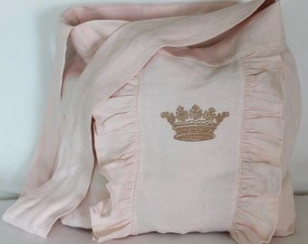 Linen Messenger Bag with Ruffle and Crown Embroidery